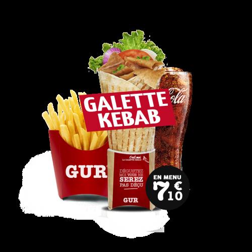 menu galette kebab (bœuf-dinde, poulet ou mixte)   gur kebab